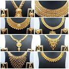 Indian 22k Gold Plated Wedding Necklace Earrings Jewelry Set Variations 8'' Set,