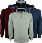 True RocK Mens 100% Cotton Zip Jumper Pullover Funnel Neck Sweater Knitwear Top