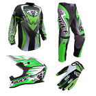 Adult MX Wulf Wulfsport Quad 2017 ATTACK Pant Shirt Helmet & Gloves Green #A11