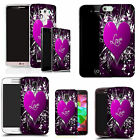 hard durable case cover for iphone & other mobile phones - purple love embrace