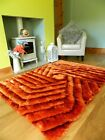 SMALL LARGE ORANGE RUST LUXURIOUS SILKY SOFT THICK SHAGGY LIVING AREA RUGS MAT