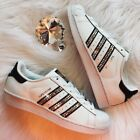 Bling Women's Adidas Shoes w/ Swarovski Crystals Originals Superstar Black w/Gld