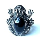 (SIZE 6,7,8,9) FROG RING Black ONYX Stone Marcasite .925 STERLING SILVER