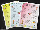 WHAT'S IN YOUR BAG? - PINK, BLUE OR YELLOW BABY SHOWER GAME - 20 CARDS INCLUDED