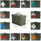 New Army Ammo Metal Ammunition Surplus Storage Box Tool Tin Camping + Stickers