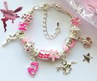 silver bracelet with Tinkerbell Dolphin Horse Butterfly charms in pouch or box