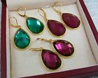 New JOAN RIVERS Earrings Large Faceted Glass Purple Green Red Drop Goldplate S34