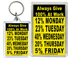"""Always Give 100% At Work..."" Funny Lazy Weekdays Keyring & Fridge magnet Gifts"