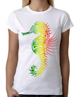 Junior's Rasta Tribal Seahorse White T-Shirt Native Mosaic Ocean Reggae Tee B276