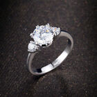 Three-stones Princess Crown Silver Color Engagement Women Rings Cubic Zirconia