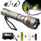 Tactical Police CREE XML T6 8000LM LED Zoomable Flashlight 18650 Battery&Charger