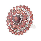 Sterling Silver Genuine Garnet Double Row Halo Dome Ring (8 1/3 CT.T.W)  R227MG