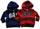 GAP Boy Toddler RED BLUE Stripe Logo Hoodie Hooded Fleece Jacket Top 2-5y £19.95