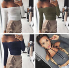 Fashion Women Girl Long Sleeve Off Shoulder Solid Tops Blouse T-shirt Clothes