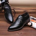 New Men Business Shoes Fashion Oxfords Brogue Lace-Up Dress Formal Wedding Shoes