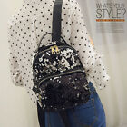 US Women Leather Travel Satchel Sequin Shoulder Backpack School Rucksack Bag