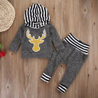 Newborn Infant Baby Boys Girls Tops Romper Long Pants Outfit Set Cotton Clothes