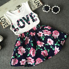 US Floral Baby Kids Girl Dress Short Sleeve Top T-Shirt+Skirt Outfit Set Clothes