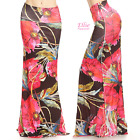 Floral Red/black Sublimation high waist fold over maxi long skirt (S/M/L/XL)