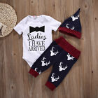 3PCS Set Newborn Toddler Baby Girls Boys Tops Romper+Pants Outfit Sets Clothes B