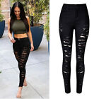 Women Denim Skinny Ripped Pants High Waist Stretch Jeans Slim Pencil Trousers zj