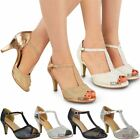 Womens Ladies Wedding Bridal Shoes Prom High Heel Diamante Party Sandals Size