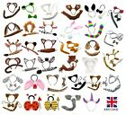 ANIMAL EARS BOW TAIL SET Book Week Costume Fancy Dress Accessory Kids Adults Kit