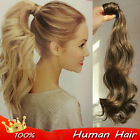 "16""-24"" Wavy  Wrap Around high Ponytail Clip In Real Human Hair Extension"
