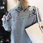 Women`s Oversized Embroidered Denim Jacket Blue Jean Jacket Made to Order