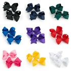 Pair of Coloured Ribbon Style Bow Motif Hair Beak Clips Slides Grips Accessories