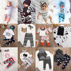 3pcs Toddler Newborn Baby Boy Girl T-shirt Tops+Pants Outfits Set Clothes lot US
