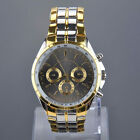 Luxury Mens Dial Gold Stainless Steel Quartz Analog Business Wrist Watch
