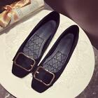 Women Fashion Square Toe Buckle Strap Bowknot Slip On Low Heels Work Shoes 4-9