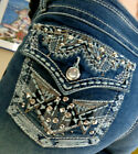 EARL JEANS Size 14W Bootcut Stretch Bling Rhinestone Atec Bling Pocket NEW