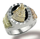 Landstroms Sterling Silver Mens Onyx Wolf Ring Size 9 to 14