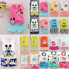 2 Pieces Kids Summer Sleeveless Shorts Cartoon Mouse T-Shirt Vest + Pant Outfit