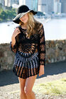 NEW Sunkissed Black Dreamcatcher Crochet Top Long Sleeves Festival Outfit Fab