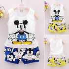Baby Kids Boys Girls Cartoon Mickey Top+Pants 2pcs Outfits Clothes Set 1-5Years