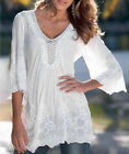 Fashion Womens Long Sleeve Shirt Casual Lace Blouse Loose Cotton Tops T Shirt