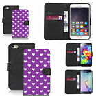 faux leather wallet case for many Mobile phones - purple populous heart