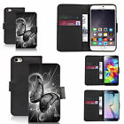 faux leather wallet case for many Mobile phones - black twirl butterfly