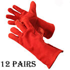 12 PAIRS QUALITY WELDING WORK GLOVES RED GAUNTLETS WOODBURNER LOG FIRE GAUNTLET