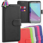 Leather Flip Cover Wallet Case for Samsung J3 + Tempered Glass + Mini Stylus
