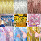 2/3M Shimmer Foil Metallic Room Door Curtain Fringe Birthday Party Wedding Decor