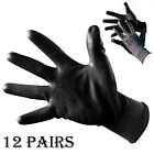 12 PAIRS 13G BLACK NITRILE POLY RUBBER WORK GLOVES BUILDER GARDENING SAFETY DIY