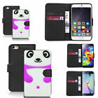 faux leather wallet case for many Mobile phones - purple panda