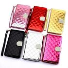Bling Rhinestone Diamond Leather Flip Wallet Case Cover For iPhone 6s 7 Plus 5s