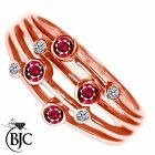 BJC® 9ct Rose gold Ruby & Diamond Bespoke Raindance Rub Set Dress Ring