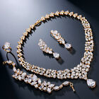 Gold Plated Water Drop Shape Crystal Cubic Zirconia Wedding Jewelry Sets