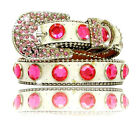 Rhinestone Bling Dog Collar White with Pink Stones